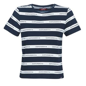 Oblečenie Ženy Tričká s krátkym rukávom Superdry COTE STRIPE TEXT TEE Námornícka modrá