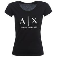 Oblečenie Ženy Tričká s krátkym rukávom Armani Exchange HELBATANTE Čierna