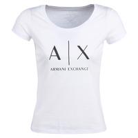 Oblečenie Ženy Tričká s krátkym rukávom Armani Exchange HELIAK Biela