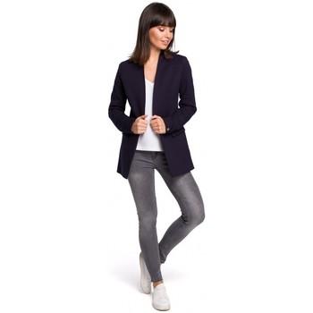Oblečenie Ženy Saká a blejzre Be B102 Otvorené sako z bavlnenej zmesi - tmavomodré