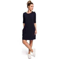 Oblečenie Ženy Blúzky Moe M422 Šaty so spadnutým pásom a mašľou - tmavomodré