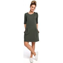 Oblečenie Ženy Krátke šaty Moe M422 Šaty so spadnutým pásom a mašľou - vojensky zelené