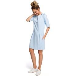 Oblečenie Ženy Krátke šaty Moe M422 Šaty so spadnutým pásom a mašľou - svetlomodré
