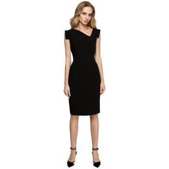 Oblečenie Ženy Sukňa Style S121 Šaty v tvare ceruzky s asymetrickým výstrihom - čierne
