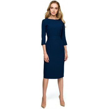 Oblečenie Ženy Krátke šaty Style S119 Jednoduché šaty na gombíky - tmavomodré