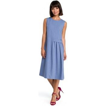 Oblečenie Ženy Krátke šaty Be B080 Vzdušné midi šaty bez rukávov - modré