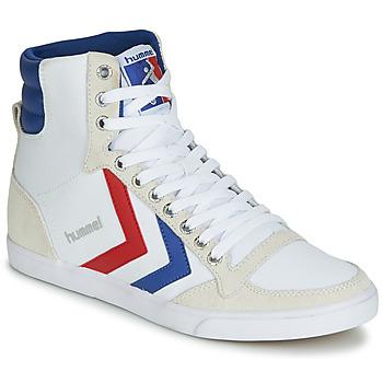 Topánky Muži Členkové tenisky Hummel TEN STAR HIGH CANVAS Biela / Modrá / Červená