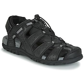 Topánky Muži Sandále Geox UOMO SANDAL STRADA Čierna