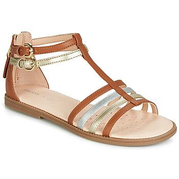 Topánky Dievčatá Sandále Geox J SANDAL KARLY GIRL Ťavia hnedá / Zlatá