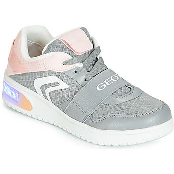 Topánky Dievčatá Členkové tenisky Geox J XLED GIRL Šedá / Ružová / Led