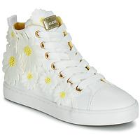 Topánky Dievčatá Členkové tenisky Geox JR CIAK GIRL Biela / Kvetovaná / Žltá