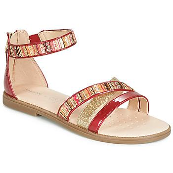 Topánky Dievčatá Sandále Geox J SANDAL KARLY GIRL Červená / Zlatá