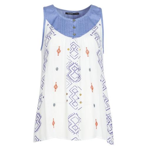 Oblečenie Ženy Tielka a tričká bez rukávov Desigual MEKANE Biela / Modrá