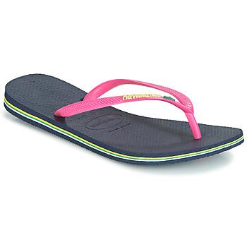 Topánky Ženy Žabky Havaianas SLIM BRASIL LOGO Námornícka modrá / Ružová