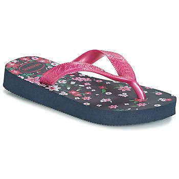 Topánky Dievčatá Žabky Havaianas KIDS FLORES Námornícka modrá / Ružová