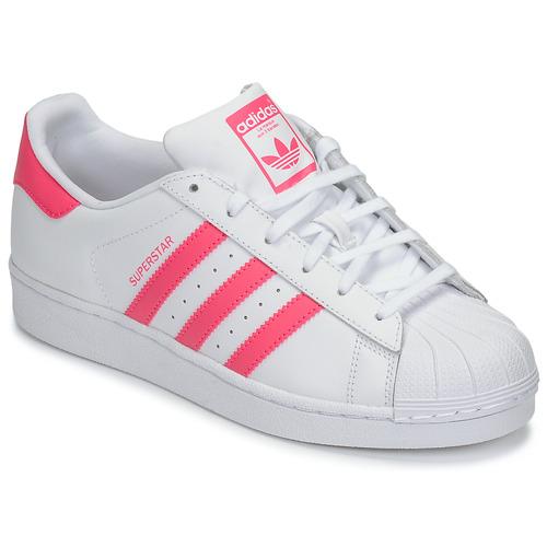 Topánky Dievčatá Nízke tenisky adidas Originals SUPERSTAR J Biela / Ružová