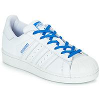 Topánky Dievčatá Nízke tenisky adidas Originals SUPERSTAR J Biela / Modrá