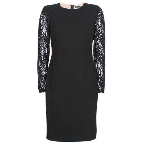 Oblečenie Ženy Krátke šaty Lauren Ralph Lauren LACE PANEL JERSEY DRESS  Čierna 97a2ba06759