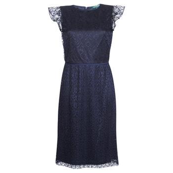 Oblečenie Ženy Krátke šaty Lauren Ralph Lauren LACE CAP SLEEVE DRESS Námornícka modrá