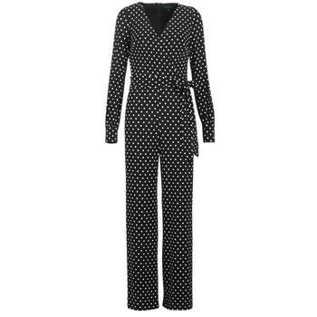 Oblečenie Ženy Módne overaly Lauren Ralph Lauren POLKA DOT WIDE LEG JUMPSUIT Čierna / Biela