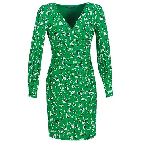 Oblečenie Ženy Krátke šaty Lauren Ralph Lauren FLORAL PRINT-LONG SLEEVE-JERSEY DAY DRESS Zelená