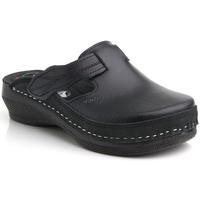 Topánky Ženy Nazuvky Batz Dámske kožené čierne šľapky FLOWER čierna