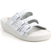 Topánky Ženy Sandále Batz Dámske kožené biele šľapky 3BCS biela