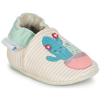 Topánky Dievčatá Detské papuče Robeez CACTUS Krémová / Ružová