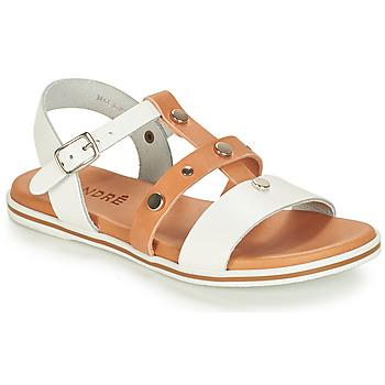 Topánky Chlapci Sandále André MILAN Biela / Ťavia hnedá