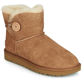 Topánky Ženy Polokozačky UGG MINI BAILEY BUTTON II Ťavia hnedá