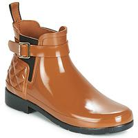 Topánky Ženy Čižmy do dažďa Hunter REFINED GLOSS QUILT CHELSEA Ťavia hnedá