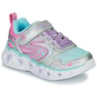 Topánky Dievčatá Nízke tenisky Skechers HEART LIGHTS Strieborná / Ružová / Led