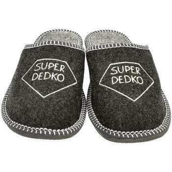 Topánky Muži Papuče Bins Pánske sivé papuče DEDKO tmavosivá