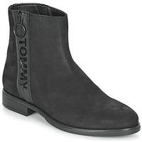 Topánky Ženy Polokozačky Tommy Jeans TOMMY JEANS ZIP FLAT BOOT Čierna