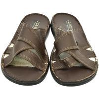 Topánky Muži Šľapky John-C Pánske hnedé papuče ARON hnedá