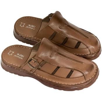 Topánky Muži Nazuvky John-C Pánske hnedé kožené šľapky NOEL hnedá