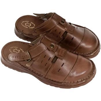 Topánky Muži Nazuvky John-C Pánske hnedé kožené šľapky MARC hnedá