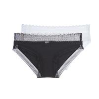 Spodná bielizeň Ženy Klasické nohavičky DIM SEXY FASHION X2 Čierna / Biela