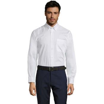 Oblečenie Muži Košele s dlhým rukávom Sols BEL-AIR TWILL MEN Blanco