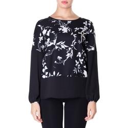 Oblečenie Ženy Košele a blúzky Luckylu BLUSA CREPE STAMPATO 0714-bianco-nero