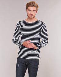 Oblečenie Muži Tričká s dlhým rukávom Armor Lux VERMO Námornícka modrá / Biela