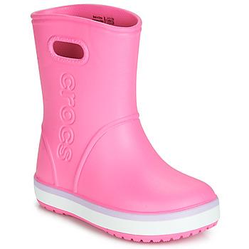 Topánky Dievčatá Čižmy do dažďa Crocs CROCBAND RAIN BOOT K Ružová