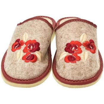 Topánky Ženy Papuče John-C Dámske béžovo-červené papuče KVETY červená