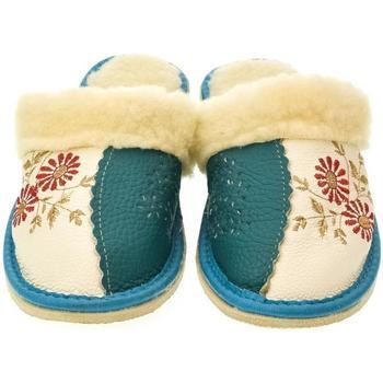 Topánky Ženy Papuče John-C Dámske béžovo-modré papuče FLOWERI modrá