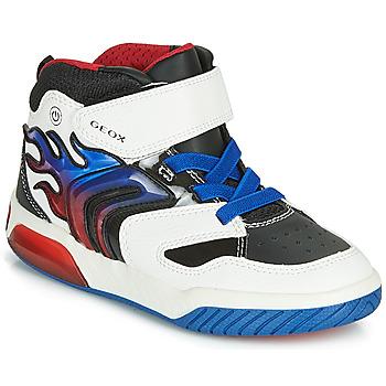 Topánky Chlapci Členkové tenisky Geox J INEK BOY Biela / Modrá / Led