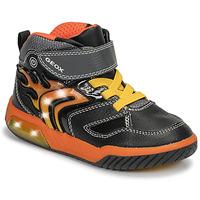 Topánky Chlapci Členkové tenisky Geox J INEK BOY Čierna / Oranžová