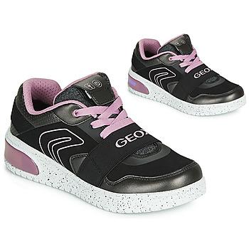 Topánky Dievčatá Členkové tenisky Geox J XLED GIRL Čierna / Ružová / Led
