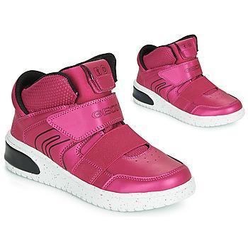 Topánky Dievčatá Členkové tenisky Geox J XLED GIRL Ružová / Fuksiová / Čierna / Led
