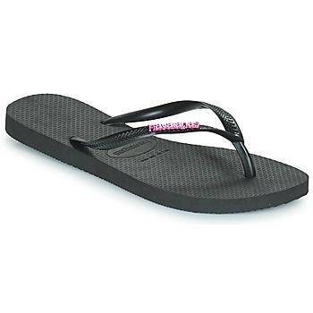 Topánky Ženy Žabky Havaianas SLIM LOGO METALLIC Čierna