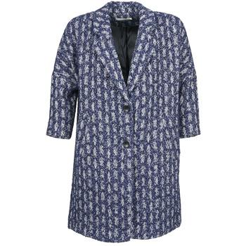 Oblečenie Ženy Kabáty See U Soon RIFFLE Modrá / Biela